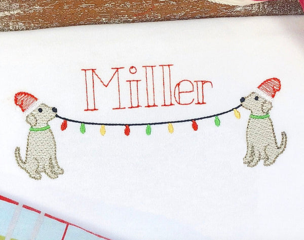 Christmas Lights Dog Banner w/ Name Sketch Embroidery Shirt