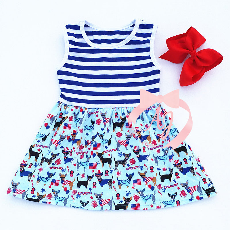 Sleeveless Patriotic Dog Dress