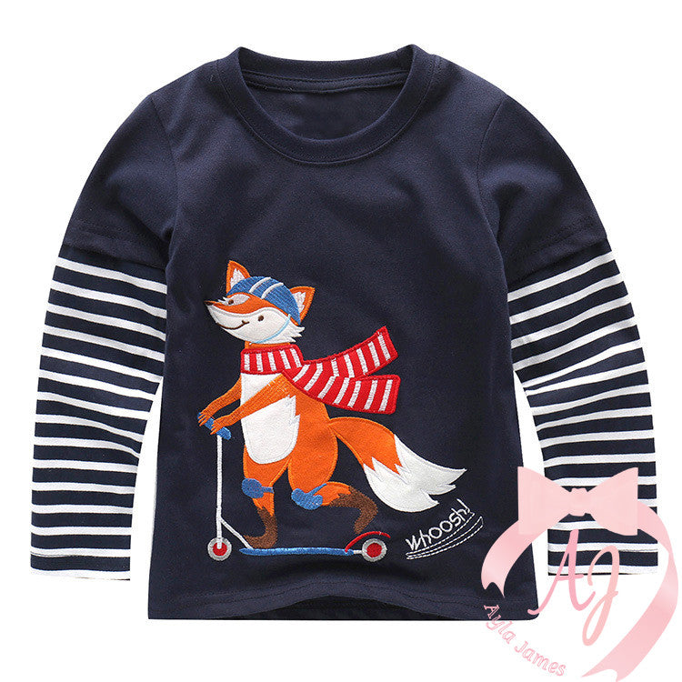 Long Sleeve Fox on a Scooter Shirt