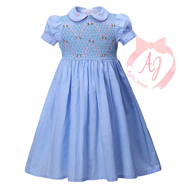 Light Blue with Pink Floral Smocked Dress