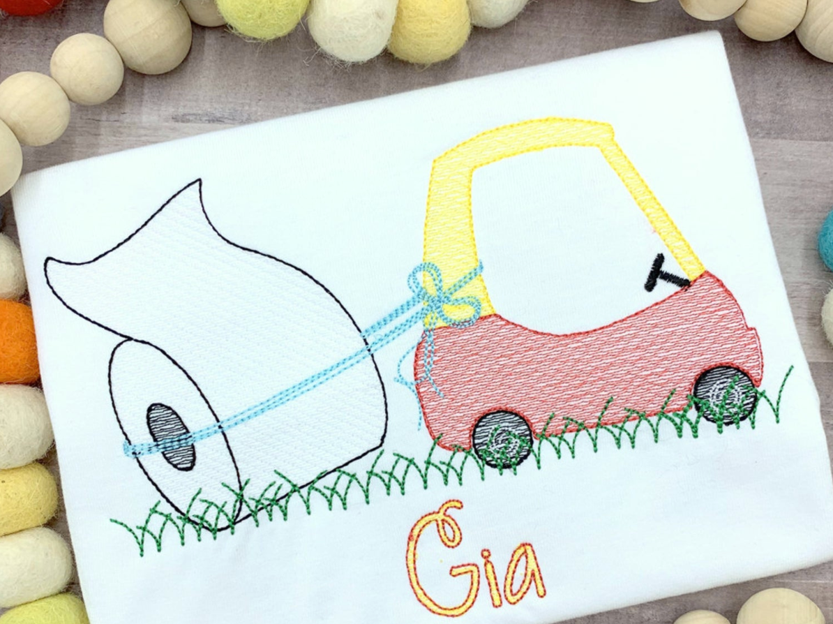 Car with Toilet Paper Sketch Embroidery Shirt