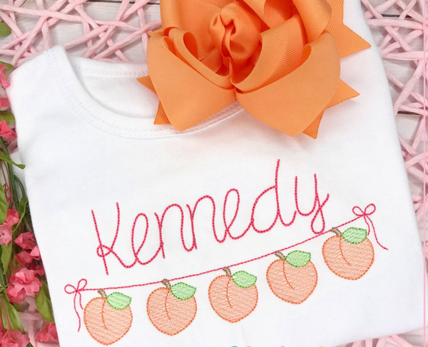 Peaches Sketch Embroidery Shirt