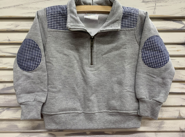 Mini and Me Pullovers (Grey with Navy Gingham)