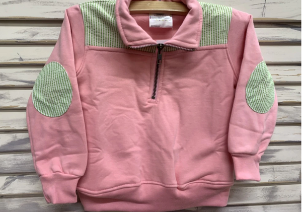 Mini and Me Pullovers (Light Pink with Green Seersucker)