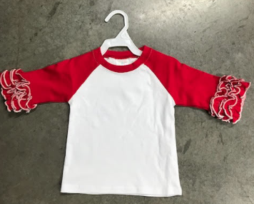 Ruffle Raglan - Red with White Stitching
