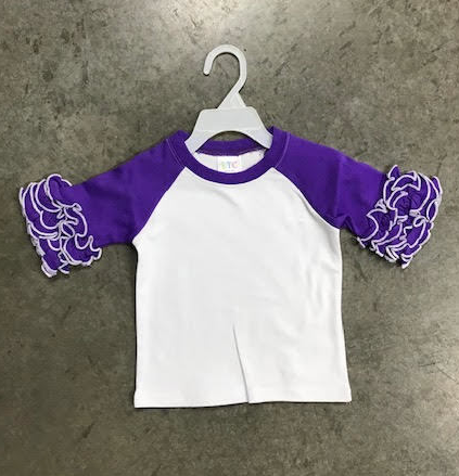 Ruffle Raglan - Purple with White Stitching