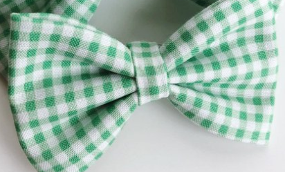 Green Gingham Bow Tie Clip