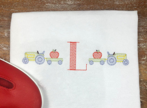 Back-to-School Tractor Sketch Embroidery Shirt