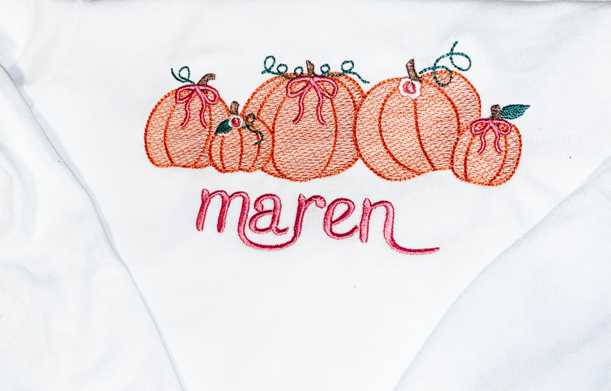 Pumpkins and Bows w/ Name Sketch Embroidery Shirt
