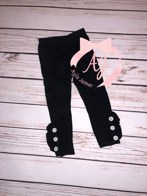 Black Button Leggings