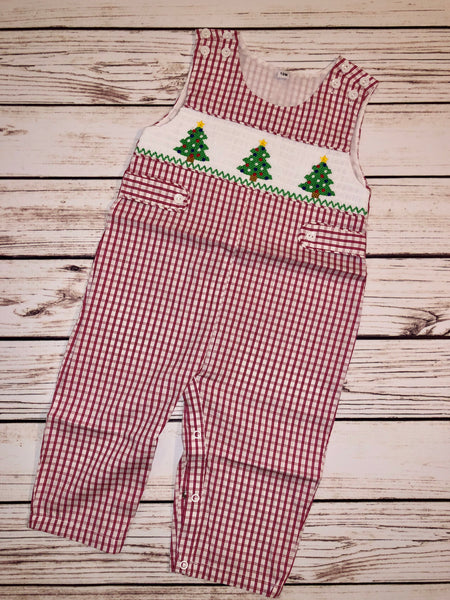 Smocked Christmas Tree Red Gingham JonJon