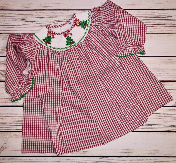 Smocked Christmas Tree Red Gingham Dress