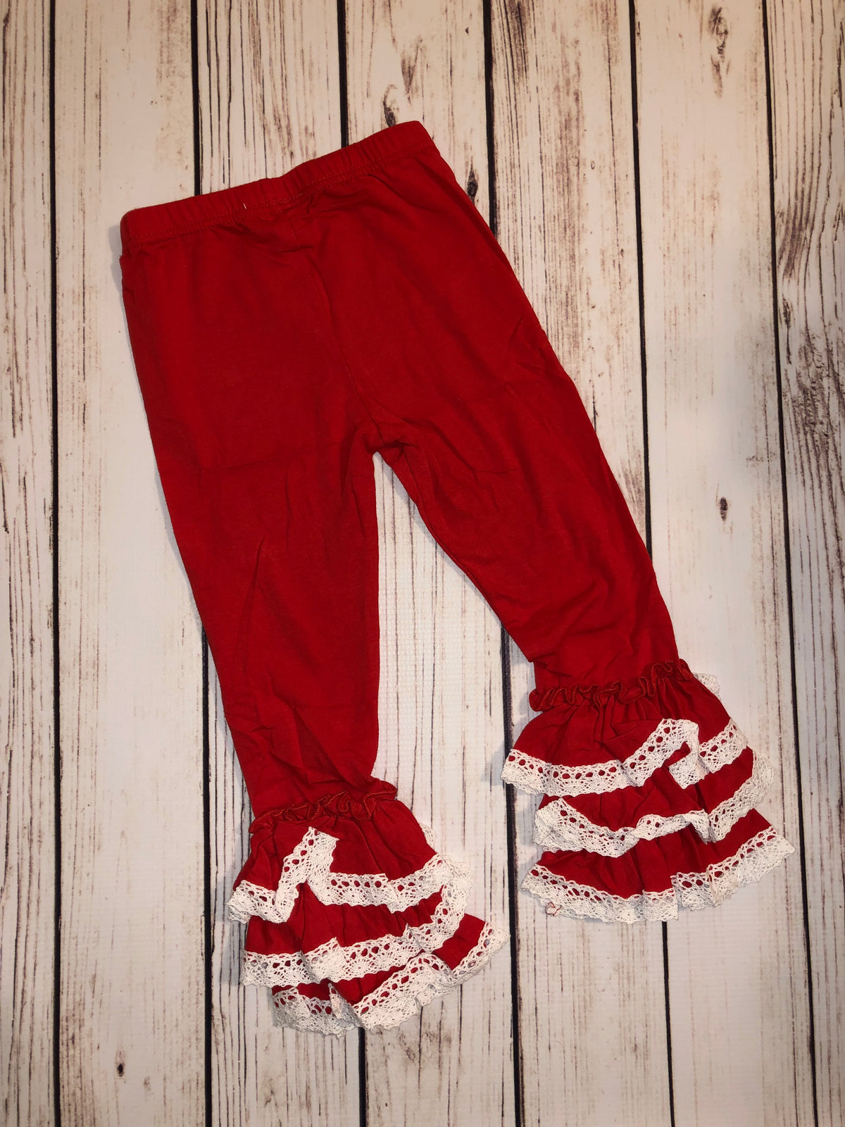 Red w/ White Lace Ruffle Pants