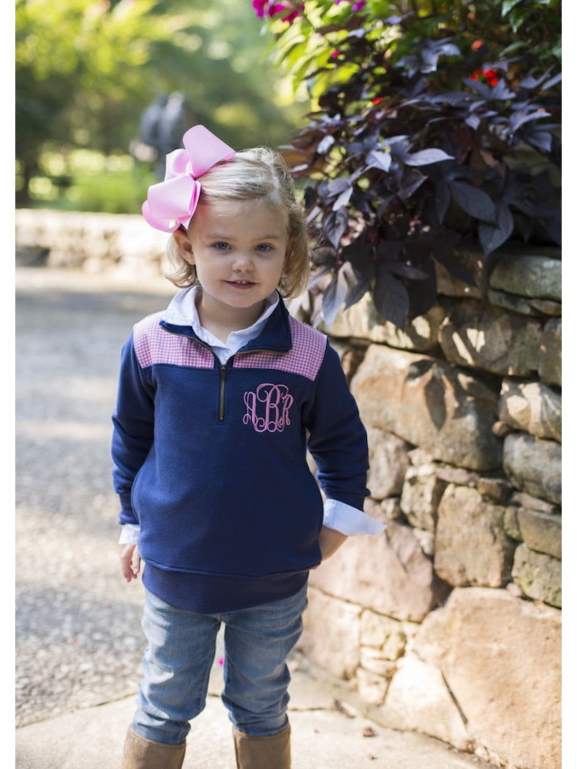 Mini and Me Pullovers (Navy with Pink Gingham)