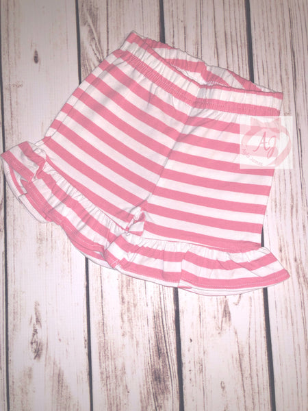Pink and White Ruffle Shorts