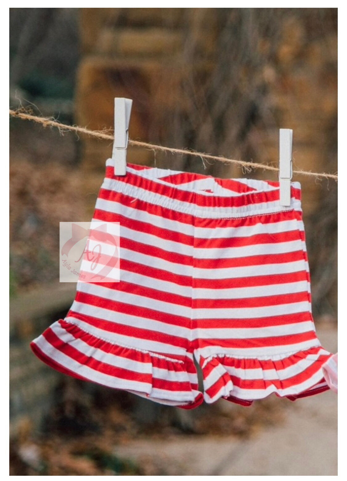 Red and White Ruffle Shorts