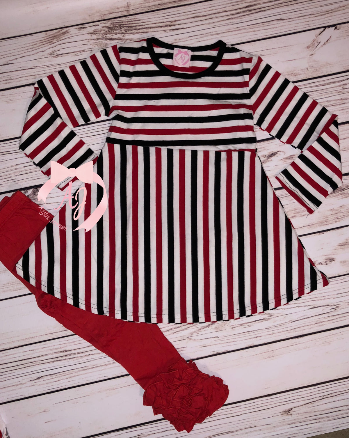 Striped Dress (Red, White, Black)