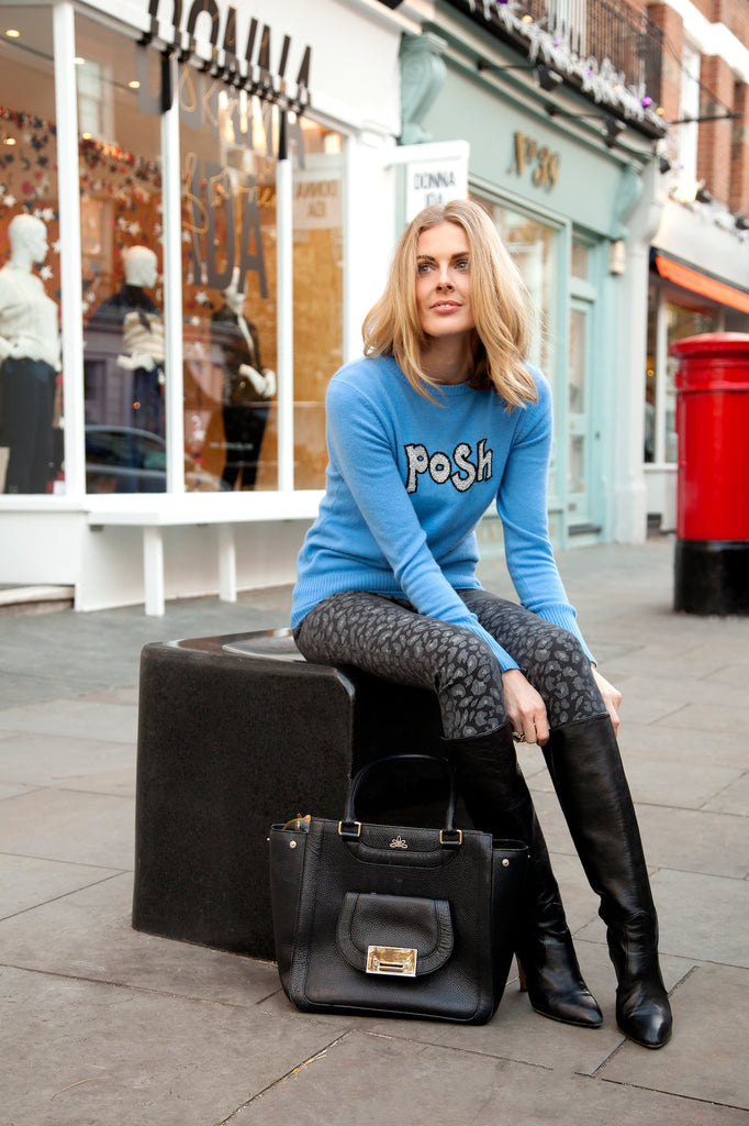 Donna Air wears DONNA IDA Posh & Skinny Cashmere Knit and Rizzo Jeans in Lucky Leopard