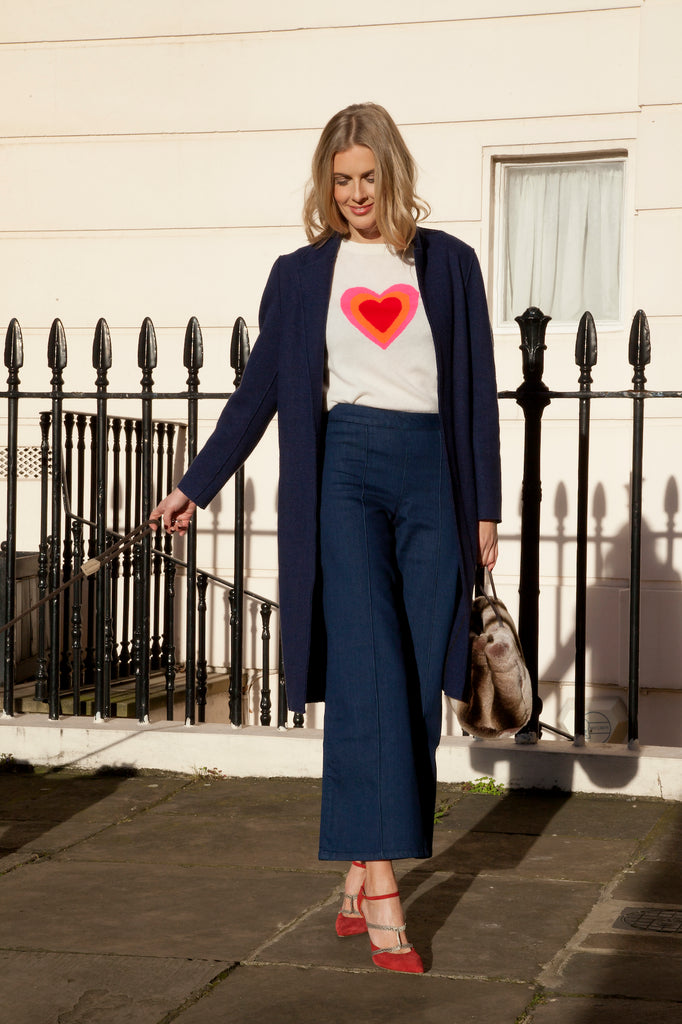 Donna Air wears DONNA IDA Tunnel Of Love Jumper, Ruby Culottes and London Car Coat