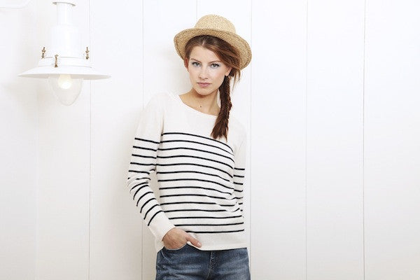 IDA Boyfriend Short £195 and Weekend in Paris Jumper £310, london fashion, london style, blogger fahsion, blogger style, nautical trend, nautical jumper, stripe jumper, skinny jeans, hat, model, campaign