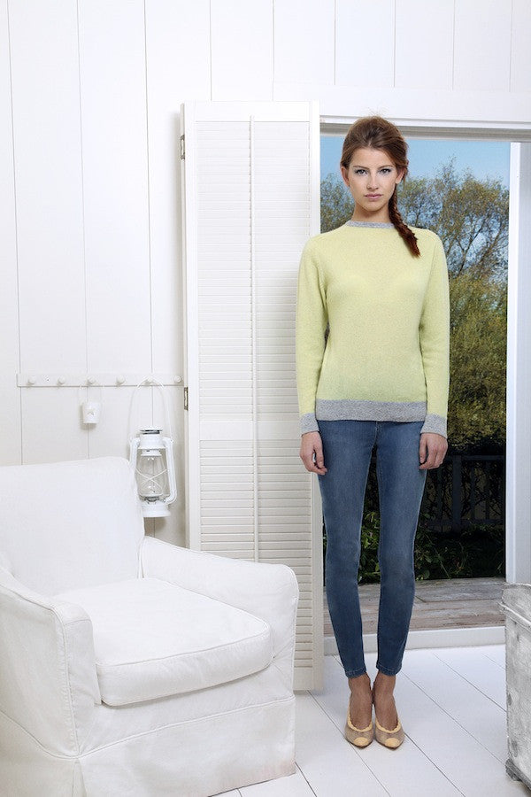 IDA Rizzo Ankle Skinny £175 and Collar & Cuffs Jumper in Lime with Heather Grey £275, london fashion, donna ida, skinny jeans, blue jeans, knitwear, cashmere, jumper, green and grey, model, campaign