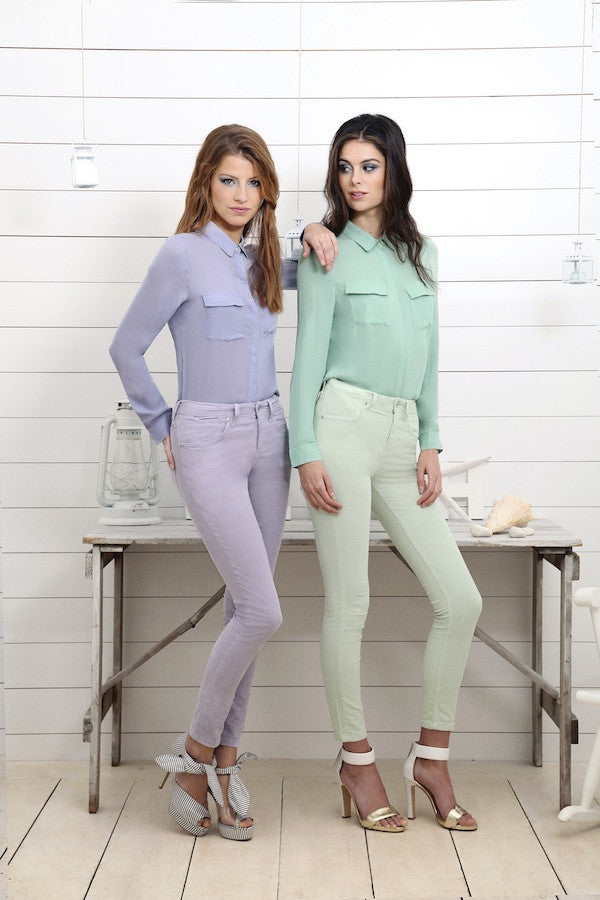 IDA Rizzo Ankle Skinny in Lavender and Mint Sherbet and Out of Africa Shirt, London fashion, pastels, blouse, skinny jeans, cord jeans, matching outfits, pastel green, lavender, models, campaign, photography, london fashion style