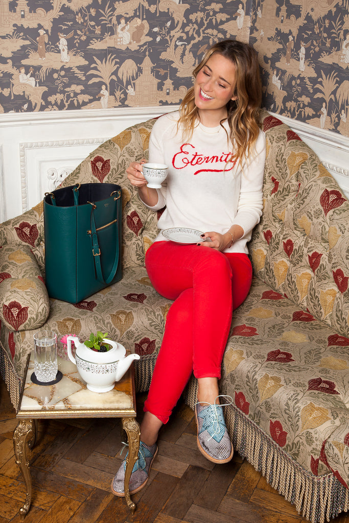 Kelly London Chatter wears IDA Rizzo Jeans in Chinese Red Corduroy and DONNA IDA Arthur's Eternity Cashmere Knit