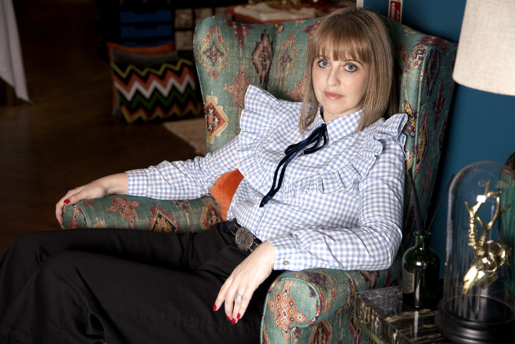 Sam Moss Bottega wears Crazy for The Colonel Blouse from DONNA IDA