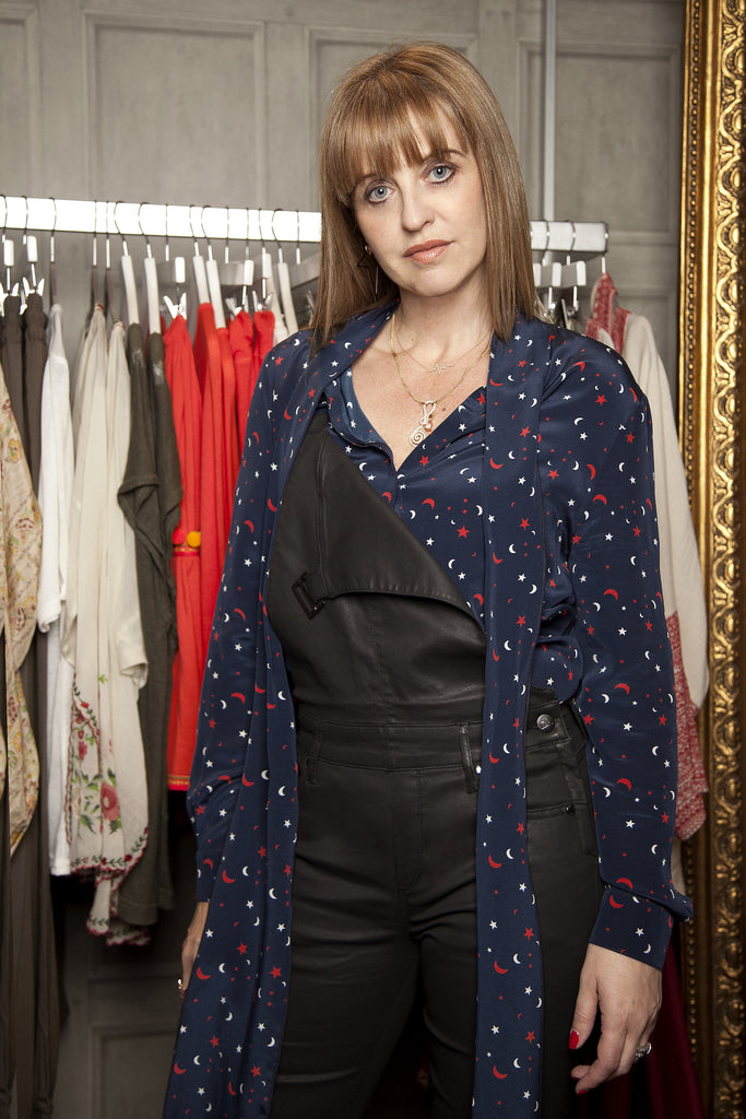 Sam Moss Bottega wears DONNA IDA Miss Maggie Blouse and Eliza Coated Denim Dungarees