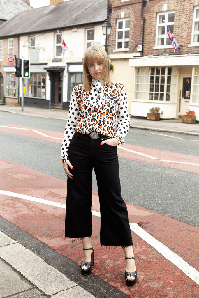 Sam Moss Bottega wears DONNA IDA Exclusive Miss Maggie Blouse in Spot The Leopard at Bottega and Margot Culottes