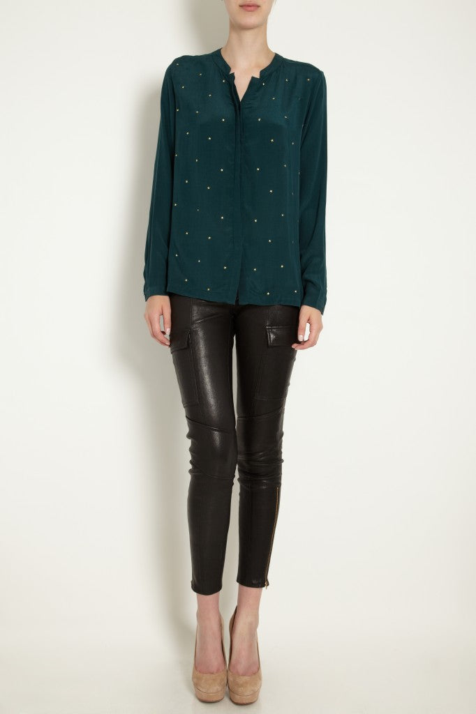 donna ida, london fashion, london style, j brand, leather leggings, skinny jeans, turquoise blouse, shirt, detailed shirt