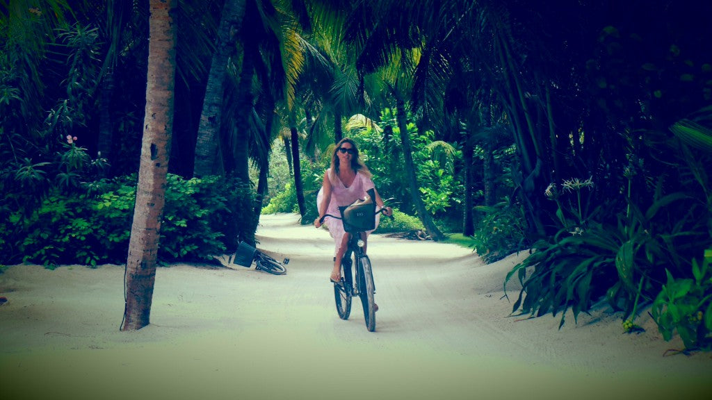 Cycling in paradise - Caroline Legrand's guest blog about Maldives on Donna Ida, donna ida, london fashion, london style, caroline legrande, meldives, beach, sun, water, tan, family
