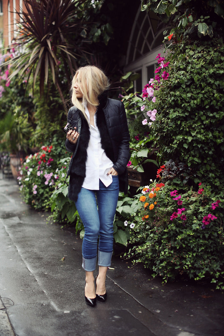 donna ida, london fashion, london style, sandra hagelstram, five inches and up, jeans, mabel, blue jeans, cuffed jeans, jacket, white shirt