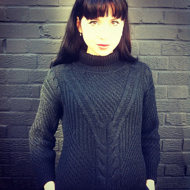 Donna Ida Graphic Designer Kate Gorbunova in her Duffy Knit, donna ida, london fashion, london style, knitwear, polar neck, winter