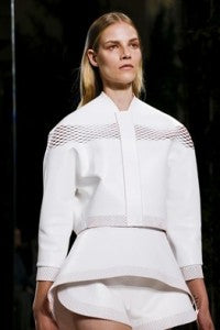 SS14 Trends Perforation Balenciaga, donna ida, london fashion, london style, white jacket, cut out, see through, mesh, panels, skirt, shorts