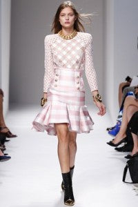 SS14 Trends 90's Americana, donna ida, london fashion, london style, checks, tartan, skirt, runway, model, pink, white, squares