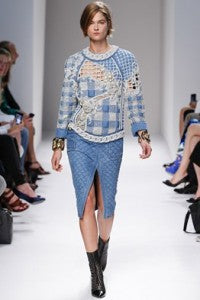 SS14 Trends 90's Americana, donna ida, london fashion, london style, checks, skirt, slit, patterened jumper, jersey, runway, model