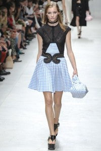 SS14 Trends 90's Americana Carven, donna ida, london fashion, london style, check dress, tartan, blue, white, square, black top, bag