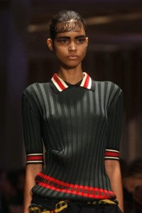 SS14 Trends Bomber Space Age Sports Celine, donna ida, london fashion, london style, sports luxe, stripes, green, coral, white, jumper, collar, model, runway