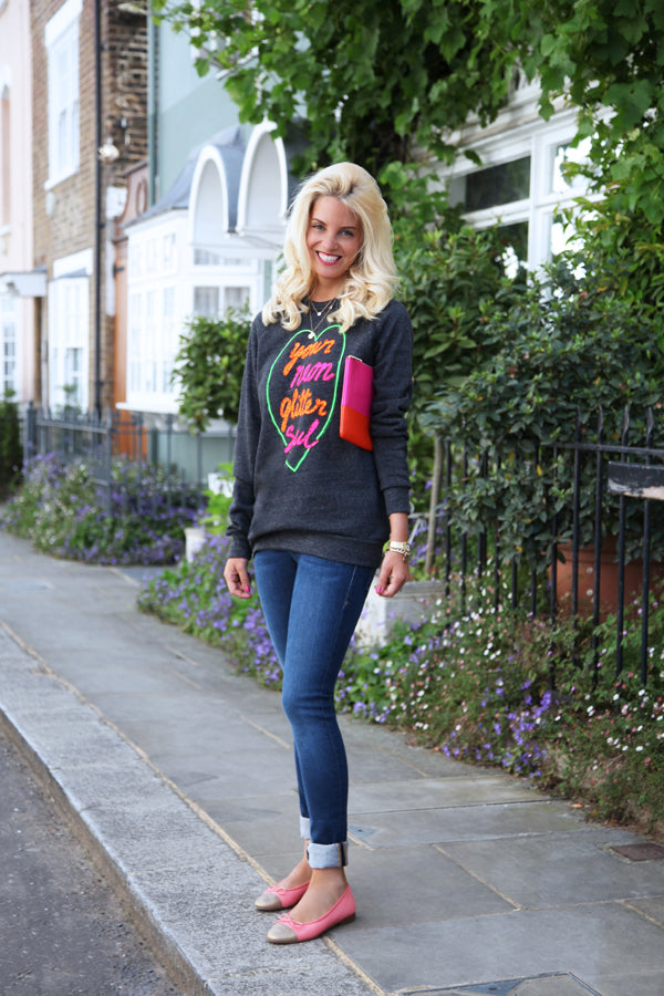 Christy Osbourne from American Girl in Chelsea wearing Simeon Farrar Neon Soul Jersey, IDA Mabel Ankle Skinny Jeans, denim, Donna Ida, fashion