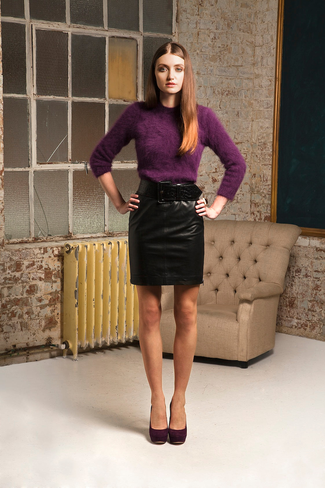 donna ida, london fashion, london style, angora, pruple, sweatshirt, fluffy, leather skirt, black skirt, belt, shoes