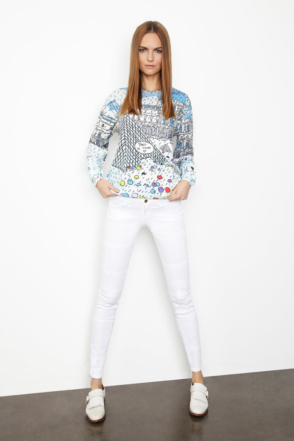Donna Ida, Frame Panel Skinny Jeans Blanc, Edward Print Top Noir, donnaida.com, skinny jeans, white jeans, graphic top, sweater, colourful top, Spring Summer, London, outfit, fashion, denim