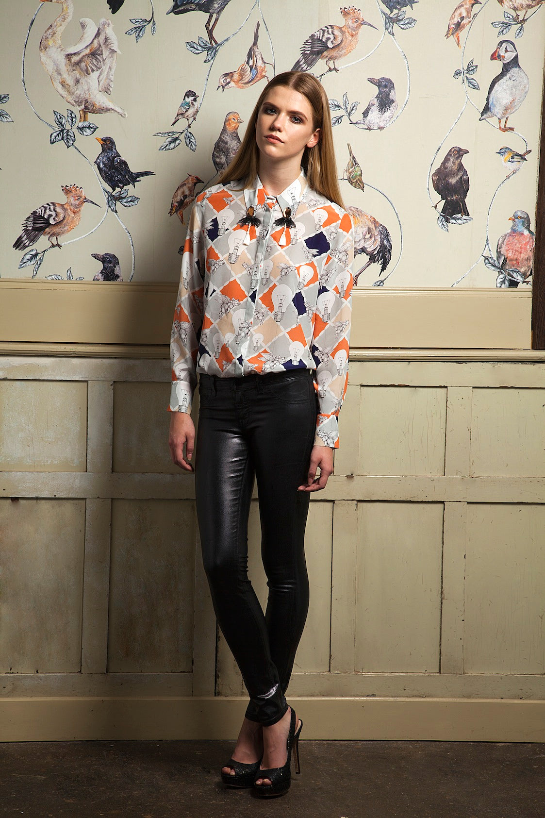 donna ida, london fashion, london style, printed blouse, printed shirt, print, skinny jeans, leather jeans, birds, model, lookbook