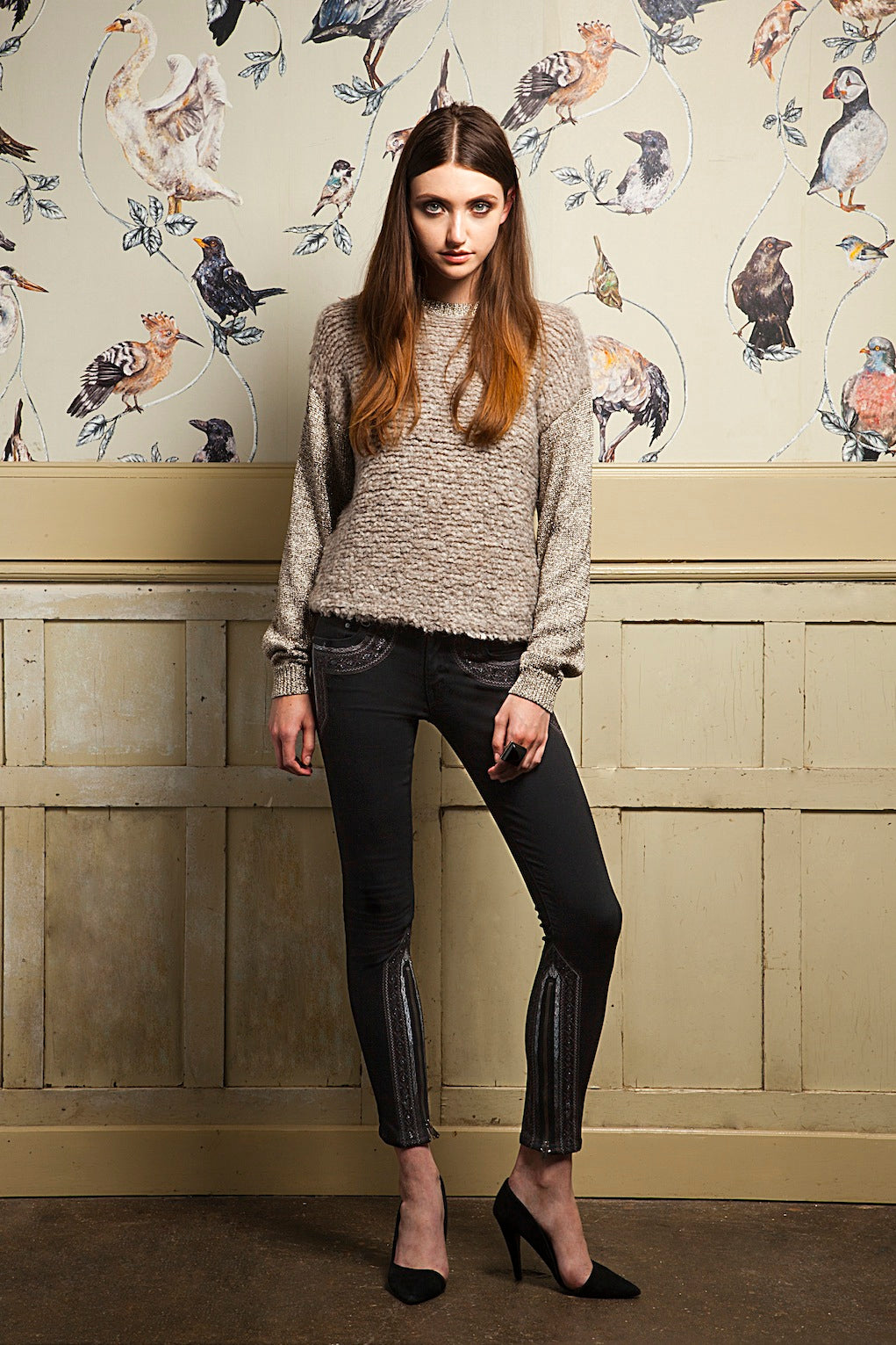 donna ida, london fashion, london style, jersey, jumper, skinny jeans, leather jeans, embelishments, wallpaper
