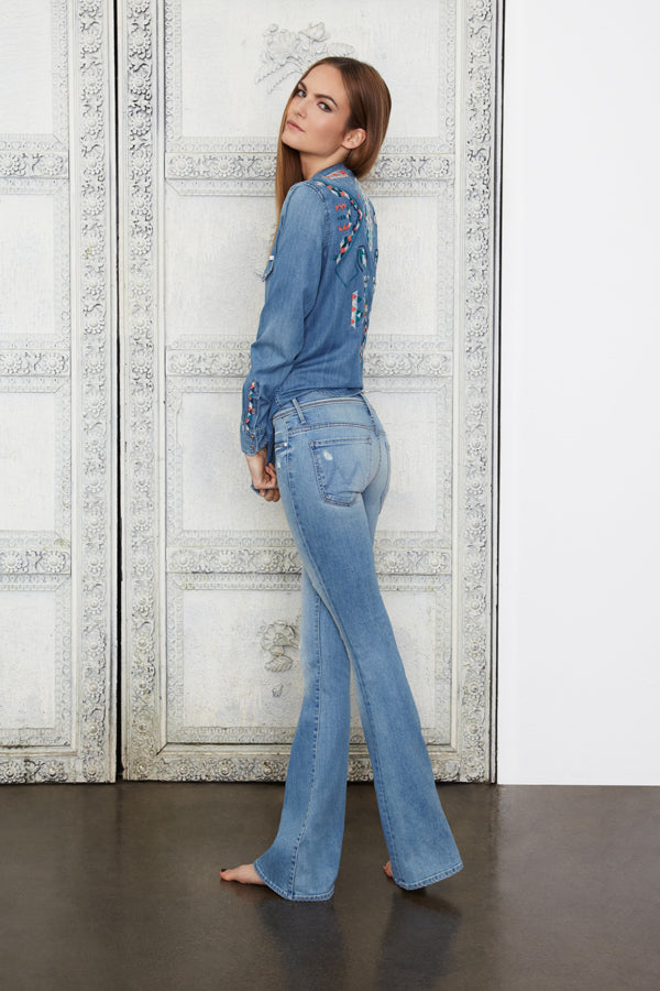 Donna Ida, Mother Cruiser Flare Jeans, Mother All My Exes Shirt Points, donnaida.com, double denim, blue jeans, flare jeans, denim, denim shirt, embroidery, Spring Summer, London, outfit, fashion