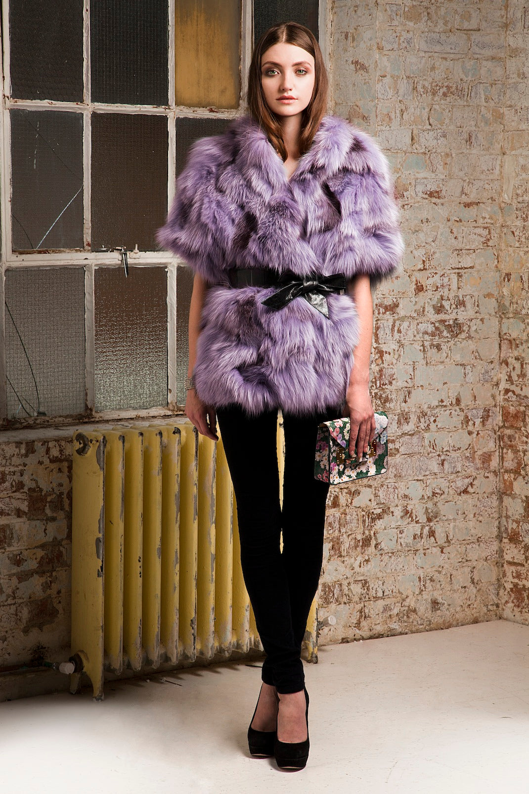 donna ida, london fashion, london style, purple fur, skinny jeans, black jeans, coat, belt, bag, shoes