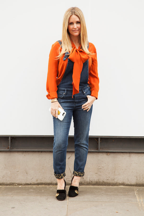 Donna Ida Thornton wearing IDA Eliza Dungarees in Guilty Pleasure and DONNA IDA Miss Maggie Blouse in Coniac Orange IMG_8399ss
