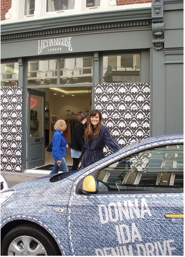 Sarah Owen supporting the Donna Ida denim drive at Lucy in Disguise