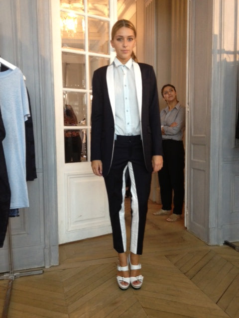 EACH X OTHER - LONG TUX, donna ida, london fashion, london style, paris fashion, paris style, tuxedo pants, tuxedo jacket, monochrome, blouse