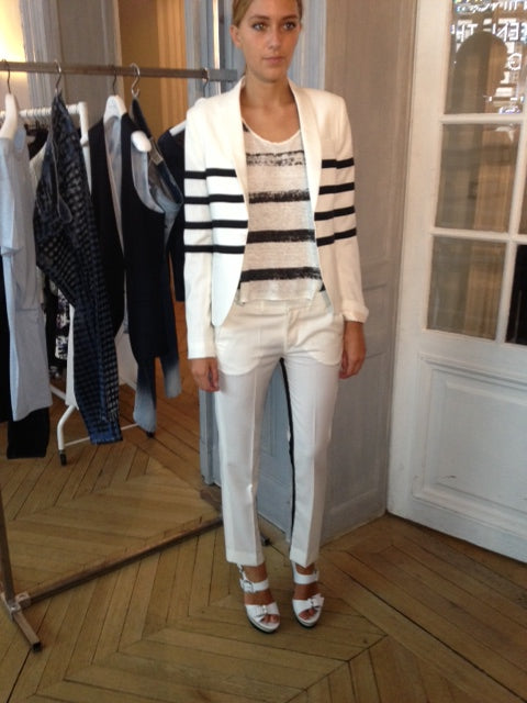 EACH X OTHER - PAINTED STRIPE VEST, donna ida, london fashion, london style, paris fashion, paris style, stripe jacket, stripe vest, white pants, tuxedo pants, blazer, stripes